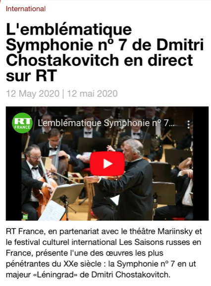 L'emblématique Symphonie nº 7 de Dmitri Chostakovitch en direct sur RT  En savoir plus sur RT France : https://francais.rt.com/international/75027-emblematique-symphonie-no-7-dmitri-chostakovitch-sur-rt