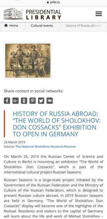 "History of Russia abroad: ""The World of Sholokhov: Don Cossacks"" exhibition to open in Germany"